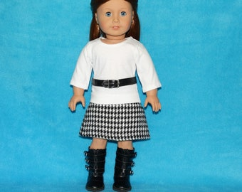 "Handmade Skirt and Long Sleeve T-shirt with Belt to fit 18"" American Girl Doll Clothes"
