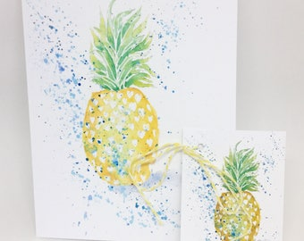 Note card + matching gift tag of bright sunny pineapple...tropical fun!