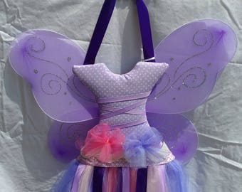 Lavender Fairy wall hanging and hair accessory organizer holds bows, clips, headbands, and more. Handmade after you order