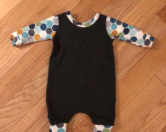 Hexagon and Charcoal 0-3 Month Romper
