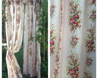 Beautiful vintage french 50s pinks floral interlined curtains with bobble passementerie trim and ruffle tops~ beautiful display