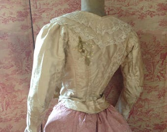Gorgeous antique cream floral silk brocade French bodice with wax flowers and lace details~ beautiful display