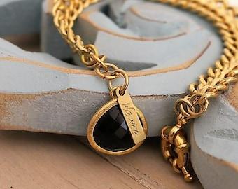 Drop Bracelet, Chunky Charm Bracelet, Black Crystal Bracelet, Chunky Curb Chain, Drop Pendant, Black Crystal Charm, Bracelet for Her