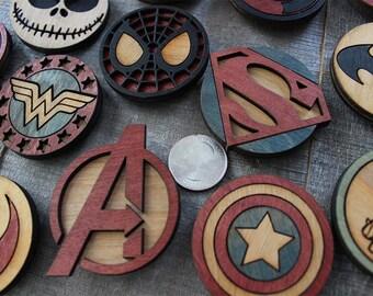 Custom 6-Piece Wood MAGNET Set | Comic Book Gift | Pop Culture Gift |
