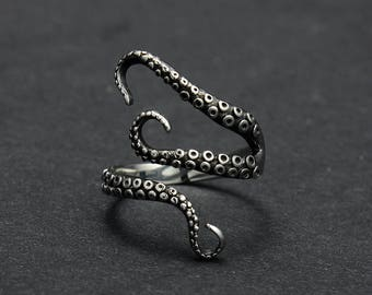 3D 925 silver vintage style octopus ring tentacle arm suckers statement ring size adjustable goth