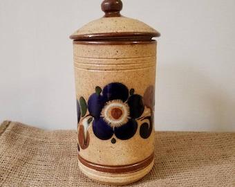 Vintage Ceramic Jar / Flower Kitchen Jar / Bohomian Kitchen Jar