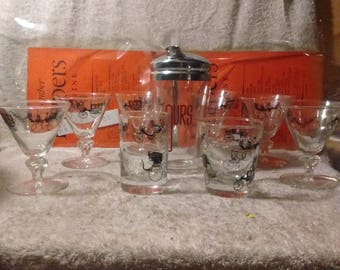 vintage bar glass set with shaker carraiges , wagons
