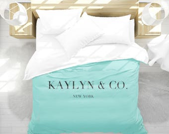 Personalized Duvet Cover Breakfast at Tiffanys, Girls Bedroom Decor, Breakfast at Tiffanys Decor, Dorm Bedding, Teen Girl Room Decor, Aqua