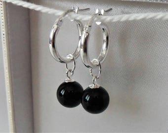 Genuine 925 Sterling Silver Black Onyx Creole Hoop Earrings.