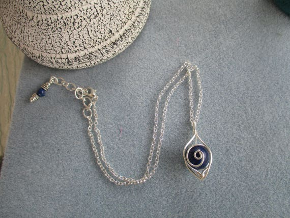 Lapis Lazuli Swirl Cage Necklace N125182