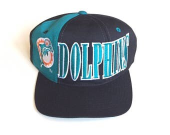 90s STARTER Miami Dolphins tri panel tri power Vintage NFL Football Snapback Strapback hat Adjustable strap back One Size Fits All wool hat