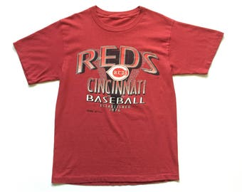 1993 Cincinnati reds t shirt 90s vintage  mlb baseball tee shirt red striped cotton single stitch shirt unisex adult L / XL