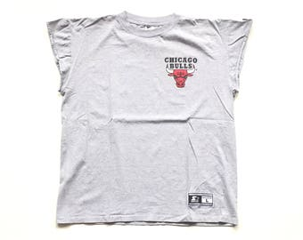 90s STARTER chicago bulls tank top jersey cut off sleeve t shirt 100% Cotton tee og jordan pippen