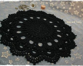 Napperon au crochet en 100% coton, couleur noir