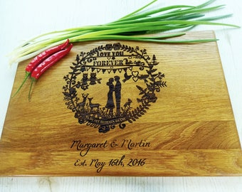 On Sale Personalized  Cutting Board. Couple cutting board. Custom Lazer engraved. Wedding gift, Mother's Day gift, Father's Day gift, annive