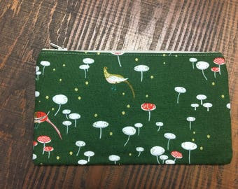Woodland Pheasant Zip Pouch - Makeup Bag