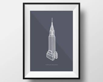Chrysler Building Digital Illustration Print
