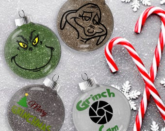 The Grinch Glitter Ornament, Shatter Resistant Glass, Grinch Max the Dog Hanging Decoration, Merry Grinchmas Tree Dangle, Grinch Cam