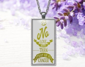 CancerZodiac Pendant  Horoscope Word Print Jewelry Necklace, Keepsake Gift for Her, Birthday Anniversary Present, Gifts for Her or Him