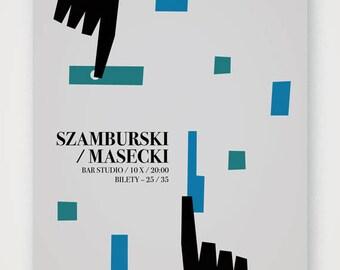 Szamburski / Masecki concert poster. High quality print of original artwork, signed. Medium size.
