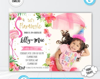 Flamingo 1st Birthday Invitation, Let's Flamingle Invite, Flamingo Party Invite, Photo Invitation, TEMPLETT, INSTANT DOWNLOAD, Editable