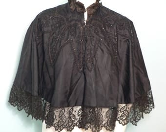 Antique Victorian Black Silk Beaded Cape with Lace Trim