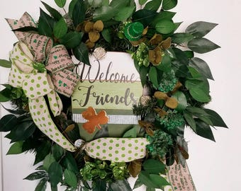 St.Patricks Day Wreath, Evergreen Wreath, Door Decor, St.Patricks Decor, Spring Wreath, St.Pattys Wreath, Front Door Wreath, Door Wreath
