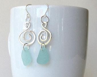 Blue Sea Glass and Silver Dangle Earrings, Sterling Silver Swirl and Sea Glass Earrings, Sea Glass Jewelry, Summer Earrings, Sea Glass
