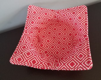 Red Geometric Microwave Bowl Cozy / Bowl Hot Pad / Bowl Pot Holder / Hostess Gift