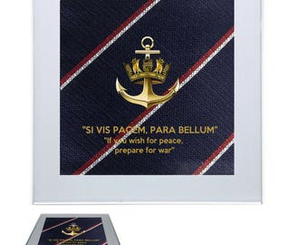 """The Royal Navy Drinks Coaster with a Navy Badge, with the motto Si vis pacem, para bellum """"If you wish for peace, prepare for war"""""""