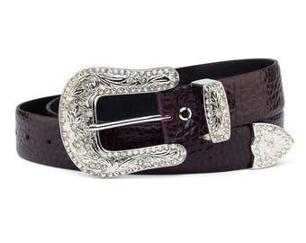 Western Belts for Women Rhinestone belt Silver buckle Italian cow leather Burgundy Maroon Cordovan Purple