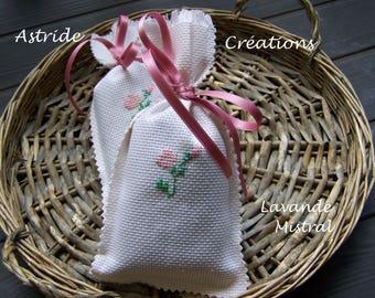 """Mistral"" lavender sachet, hand embroidered."