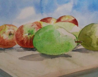 "Watercolor Painting - ""Pears and Apples"""