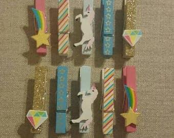 Enchanting unicorn clothespins- set of 10