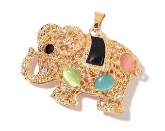 Simulated Multi Color Cat's Eye, Black and White Austrian Crystal, Enameled Goldtone Elephant Pendant Without Chain TGW 5.00 cts.
