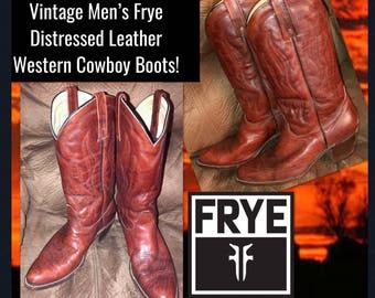 Vintage Men's Frye Brick Red Leather Western Cowboy Boots!