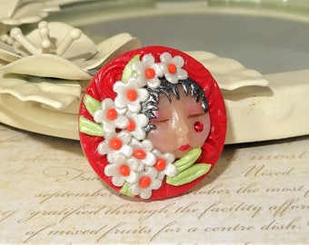 Goddess Fairy Elf Face Cabochon Beading Focal Pendant - C765