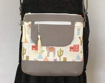 Cross Body Bag, Messenger Bag, Jasmine Sling Bag, Shoulder Bag, Llama, Cactus, Mexican, Cream, Purse, Hobo Bag, Boho, Festival