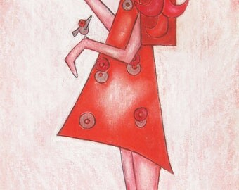 "Original artwork pastel chalk/charcoal on paper ""fluttering/flighty"" by the artist Nina Boos"