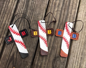 Personalized Handtooled Leather Cross Baseball