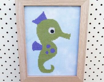 Framed Baby Seahorse Cross Stitch