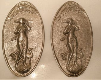Art Deco chrome metal pair neoclassical lady and antelope wall plaques circa 1930s