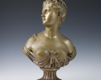 Large antique French gilt bronze bust of Diana by Jean-Antoine Houdon circa 1767