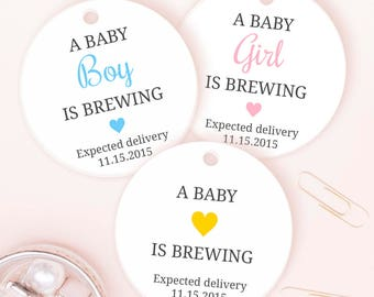 A baby is brewing tags (30) - Baby shower tags - Baby shower tea party favors - Baby shower thank you tags