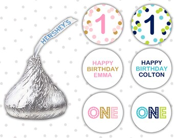 Hershey kiss sticker (108) - First Birthday favors - Hershey kiss labels - Hershey kiss sticker birthday (HK004)