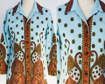 Vintage 70's Classic Polyester MOD Blouse l M