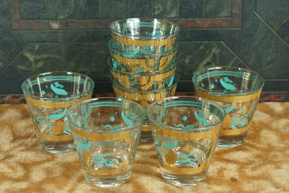 8 Mid Century Turquoise Signed Fred Press Low Ball Bar Glasses Horse