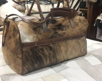 Cowhide Travel Bag! Weekender Traveller Bag! Unique Piece!