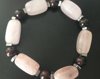 Rose Quartz & Garnet Bracelet
