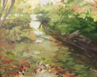 Great Falls Canal, NP in VA. Oil on Panel painting by Alexia Scott